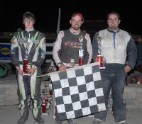 Adam Pierson (c) is joines by Jeff Champagne (l) and Mike Chaffee (r) on the podium at Bear Ridge Speedway Saturday.