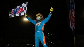 Tyler Courtney captured round two of NOS Energy Drink Indiana Sprint Week Friday night at Plymouth Speedway.