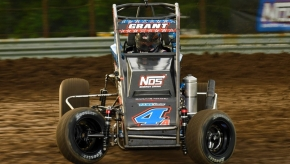 "Justin Grant won his first career ""Indiana Midget Week"" feature Wednesday night at Gas City I-69 Speedway."