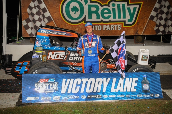 "Justin Grant celebrate his victory on night two of ""Winter Dirt Games X"" Friday at Bubba Raceway Park."
