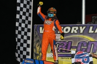 Tyler Courtney is joyous after winning Friday night's USAC NOS Energy Drink National Midget race at Tri-City Speedway.