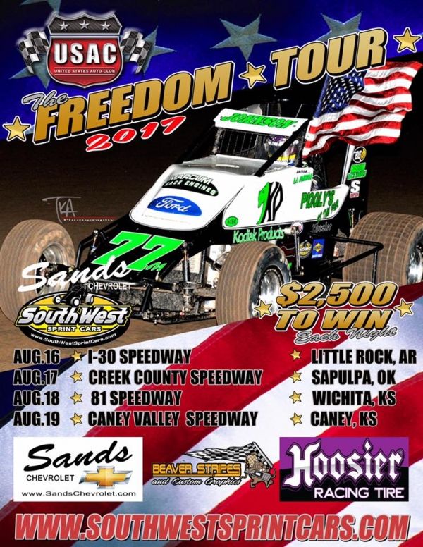 "USAC SOUTHWEST ""FREEDOM TOUR"" REVAMPED SCHEDULE – KICKS OFF AUGUST 16 AT I-30 SPEEDWAY"