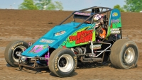 "#17 Brett Burdette in the Scooby Doo ""Mystery Machine"" during 2011 Indiana Sprint Week."