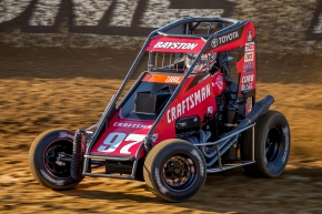 Spencer Bayston was victorious in Saturday night's USAC P1 Insurance National Midget / Indiana Midget Week feature at Lawrenceburg Speedway.