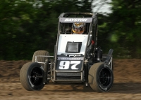 "Spencer Bayston wins his first career USAC National Midget feature Wednesday night at Gas City I-69 Speedway during the second round of the 12th annual ""Indiana Midget Week."""