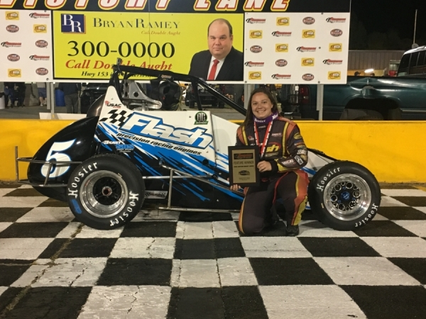 2018 USAC Speed2 Eastern Midget champ Jessica Bean celebrates a victory during the 2018 season.