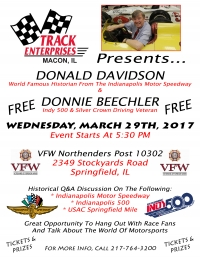 IMS HISTORIAN DAVIDSON & INDY 500 VETERAN BEECHLER TO APPEAR IN SPRINGFIELD WEDNESDAY