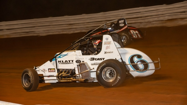 Brady Bacon (#6) and Justin Grant (#91) go side-by-side during the 2020 USAC Silver Crown race at Selinsgrove (Pa.) Speedway