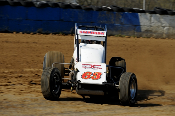 "Two-time USAC Silver Crown champ Kody Swanson at speed during the 2016 ""Sumar Classic"""