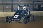 "Shane Golobic on his way to victory in March's ""Shamrock Classic"" USAC National Midget feature at the Southern Illinois Center in Du Quoin."