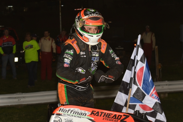 "Brady Bacon celebrates Friday's ""Larry Rice Classic"" victory at Bloomington (Ind.) Speedway."