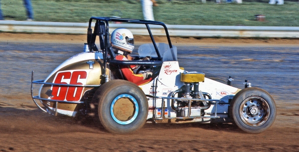 Mel Kenyon, of Lebanon, Ind., rockets around the Terre Haute (Ind.) Action Track during his 1985 USAC National Midget championship season.