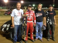 Christopher Bell and his Keith Kunz/Curb-Agajanian Motorsports crew after their win at Lincoln Park.