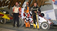 Will Hull (middle) celebrates his third win of the USAC DMA season Friday night at Albany-Saratoga Speedway.