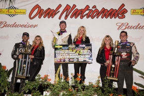 "C.J. Leary (center) won Thursday's ""360 Oval Nationals"" over Bryan Clauson (left) & Jake Swanson (right)"