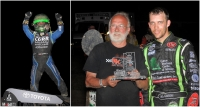 "Kokomo race winner Rico Abreu (left picture) and ""Indiana Midget Week"" champion crew chief Rusty Kunz (left in right picture) with champion driver Bryan Clauson."