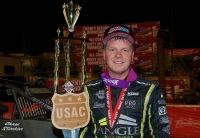 "Chase Stockon won his second consecutive USAC AMSOIL National Sprint Car feature Thursday night at Perris (Calif.) Auto Speedway during night one of the ""Oval Nationals."""
