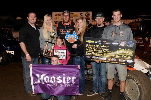 Richard Vander Weerd and crew celebrate in victory lane at Perris Auto Speedway.