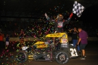Christopher Bell celebrates victory Sunday night at Lincoln (IL) Speedway.