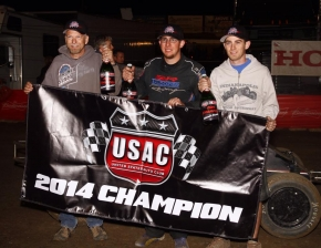 Ronnie Gardner and his team celebrate as Honda USAC Western Champions.