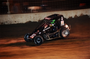 Rico Abreu at speed around Kokomo Speedway.