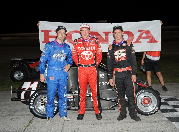 Christopher Bell, Darren Hagen and Kyle Hamilton pose for the podium photo at Illiana.