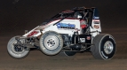 Tri-State Speedway Indiana Sprint Week feature winner Kyle Cummins.