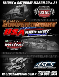 "8th ""COPPER ON DIRT"" FOR CRA SPRINTS AT TUCSON FRI-SAT"