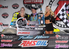 Brady Bacon celebrates his #LetsRaceTwo Night #1 victory Friday night at Eldora Speedway.