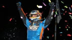 Chris Windom celebrates victory in Tuesday night's Pennsylvania Midget Week opener at Grandview Speedway.