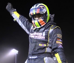 Josh Hodges celebrates after winning Saturday night at Perris.