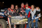 Mike Spencer, crew and family celebrate in victory lane after winning Saturday night at California's Ventura Raceway.