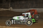 R.J. Johnson in #77M battles with Charles Davis Jr. at Arizona Speedway.