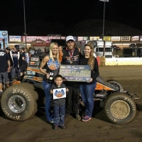 Richard Vander Weerd in victory lane at Perris Saturday night.