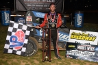 Tanner Thorson in victory lane Thursday at Lincoln Park Speedway.