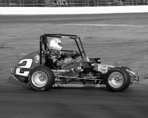 Rich Vogler in action at the Indianapolis Speedrome during his 1986 USAC National Midget championship season.