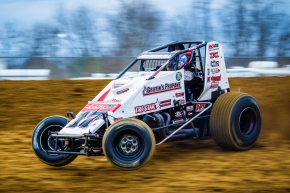 Ryan Bernal at speed in his lone appearance in the Michael Dutcher Motorsports #17GP at Brownstown (Ind.) Speedway in March of 2017.
