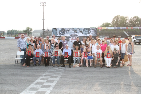 USAC Hall of Fame inductees pose with their distinctive plaques.