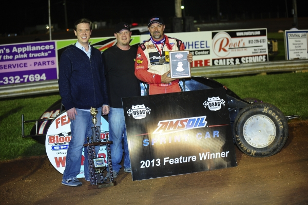Dave Darland is joined in victory lane by Zach &amp;amp; Robbie Rice after winning Friday night&amp;#039;s &amp;quot;Larry Rice Classic&amp;quot; at Bloomington Speedway.