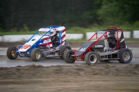 Dean Christensen battles Jeff Horn for position in DMA action at Vermont's Bear Ridge Speedway.