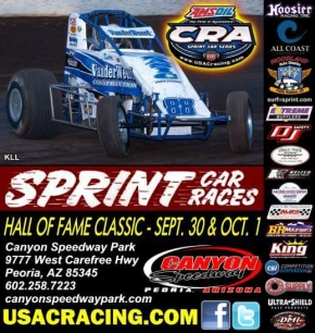 USAC/CRA SPRINTS HEAD TO CANYON SATURDAY FOR HALL OF FAME CLASSIC