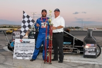 "With Friday night's ""Rollie Beale Classic"" Silver Crown victory, Bobby Santos (left) became the first driver to win a USAC Silver Crown, National Sprint and National Midget feature in a career at Toledo Speedway. Race sponsor, Ron Hemelgarn (Right)."