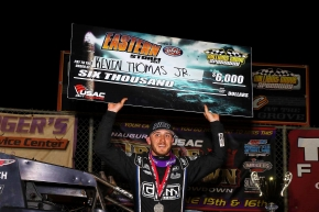 "Kevin Thomas, Jr. celebrates Thursday night's USAC AMSOIL National Sprint Car ""Eastern Storm"" victory at Williams Grove Speedway."