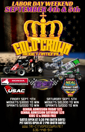 """GOLD CROWN MIDGET NATIONALS"" AT TRI-CITY FRIDAY & SATURDAY"
