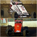Last Spring, Chad Boespflug (top) won at Bloomington (Ind.) Speedway while Chris Windom (bottom) captured the victory at Tri-State Speedway in Haubstadt, Ind., sites of this weekend's USAC AMSOIL National Sprint Car races.