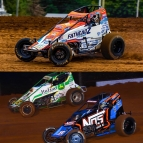 USAC AMSOIL National Sprint Car championship contenders Chase Stockon (white) & Brady Bacon (orange).