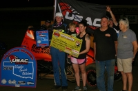 Matt Sherrell celebrates his first career USAC Wingless Sprints Oklahoma victory Thursday night at Creek County Speedway.