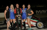 Tom Paterson is all smiles after winning Saturday night's USAC Western HPD Midget feature at Madera (Calif.) Speedway