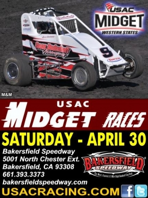 WESTERN STATES MIDGETS NOW EYE BAKERSFIELD APRIL 30; WEATHER CLAIMS TULARE MIDGET RACE