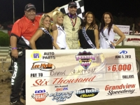"Daron Clayton enjoys Grandview Speedway victory lane after winning Wednesday night's ""Jesse Hockett Classic"""